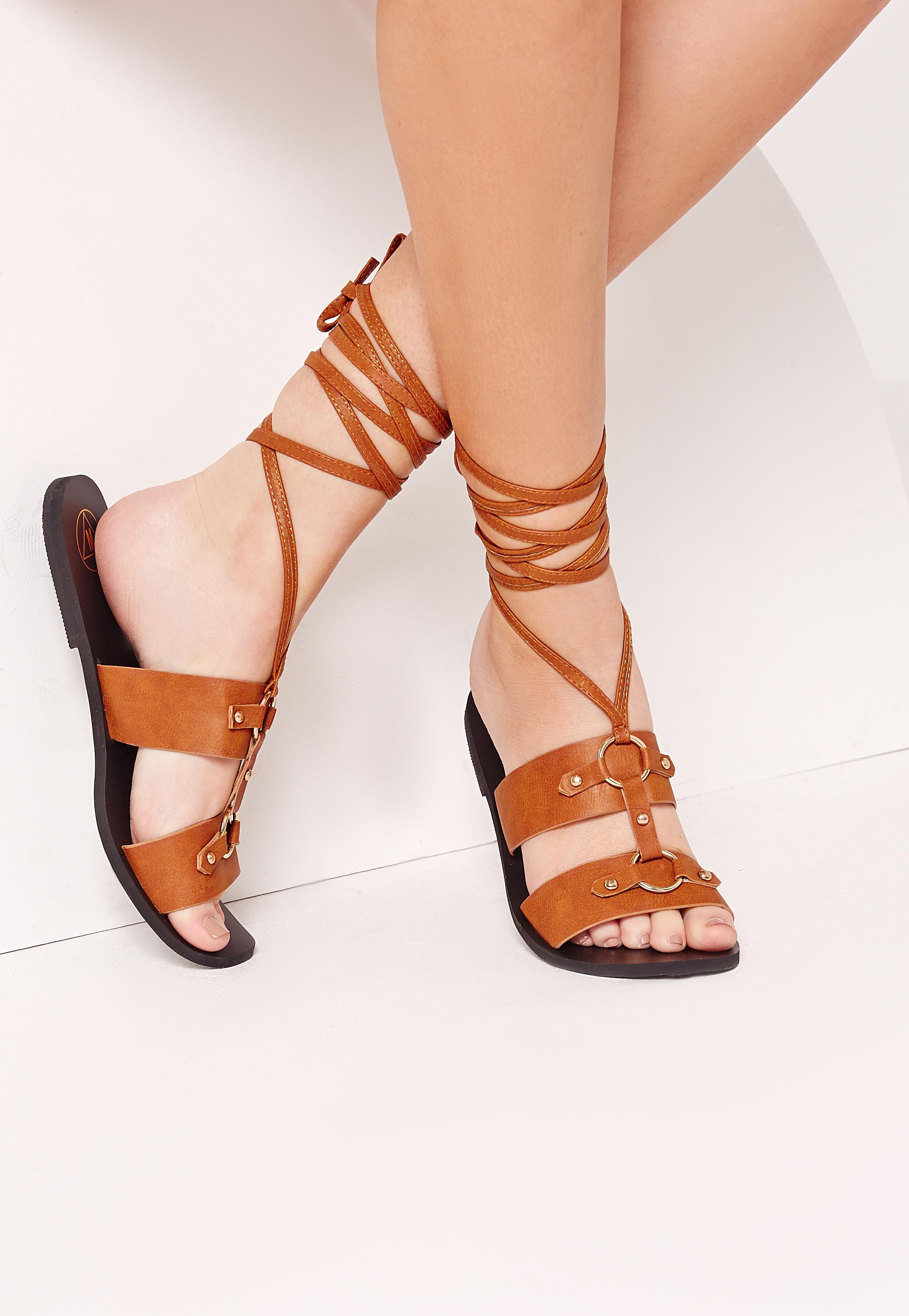 Ankle Wrap Strap Ring Detail Flat Sandal Tan