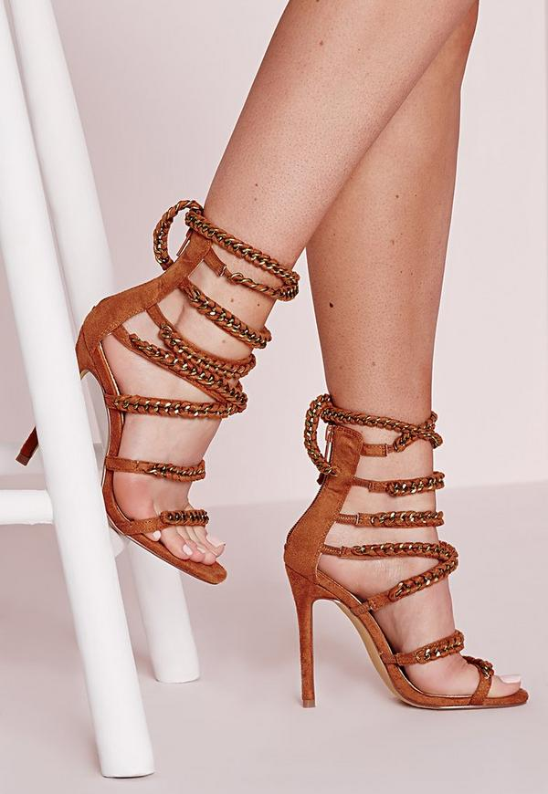 Woven Chain Heeled Gladiator Sandals Tan