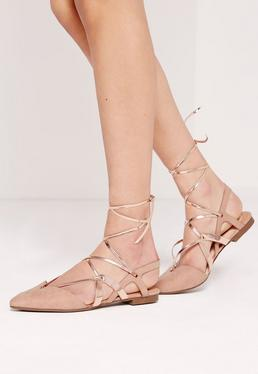 Strappy Metallic Slingback lace up ballerina flats nude