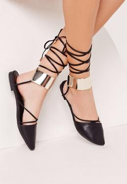 Lace Up Gold Cuff D'orsay Ballerina Black
