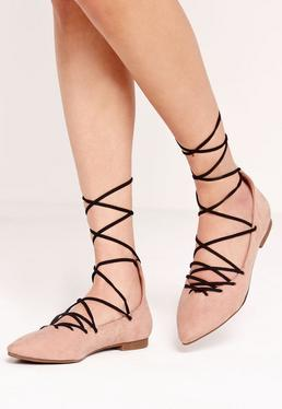 Sweetheart Vamp Lace Up Ballerina Shoes Nude