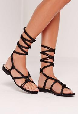 Rope Lace Up Flat Sandals Black