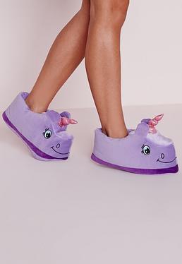 Chaussons violets licornes