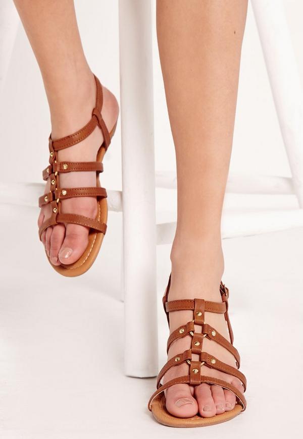 Eyelet Detail Sandals Tan