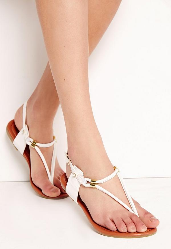Detail Gold Flat Sandals White
