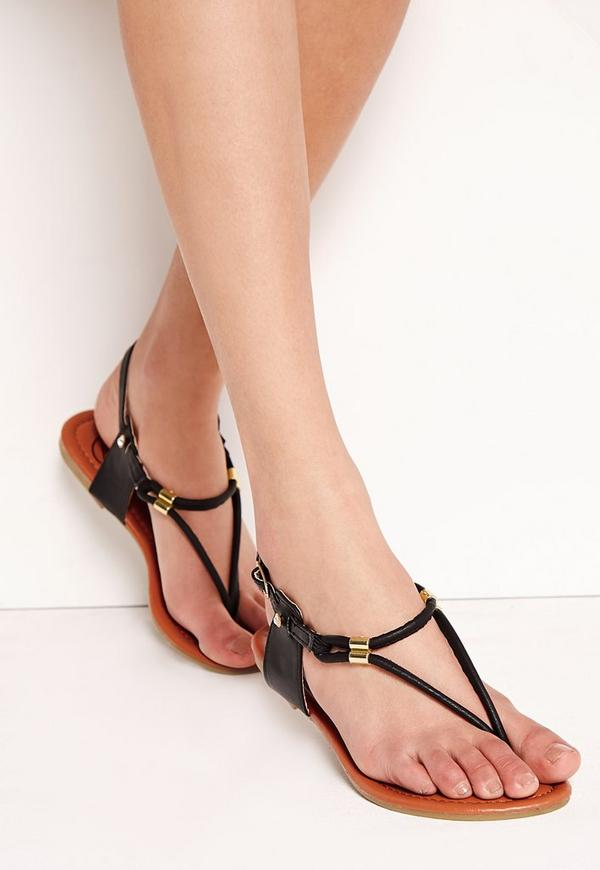 Detail Gold Flat Sandals Black