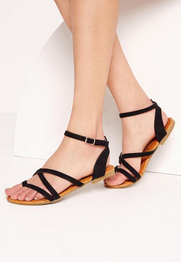 Toe Post Strappy Sandals Black