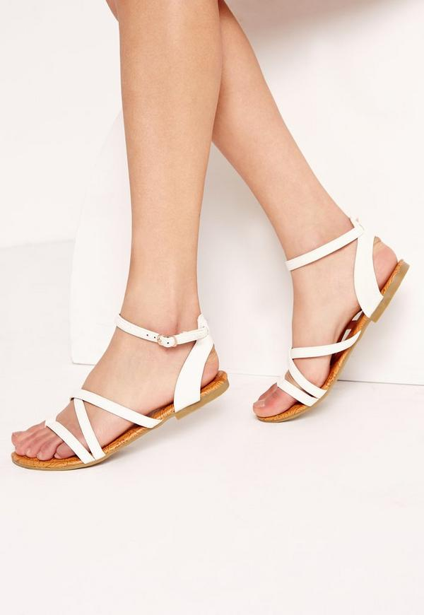 Toe Post Strappy Sandals White