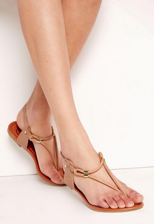 Detail Gold Flat Sandals Nude
