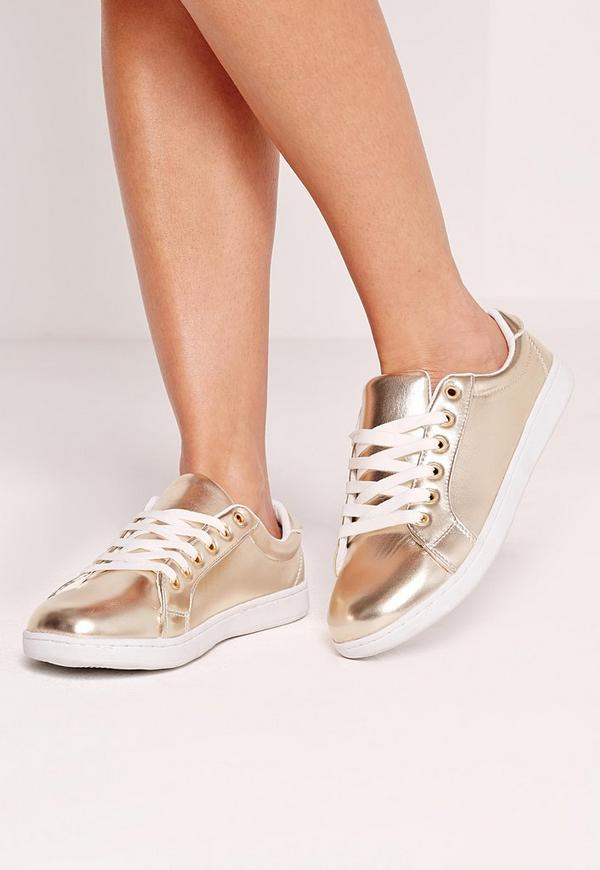 Cracked Metallic Pumps Gold