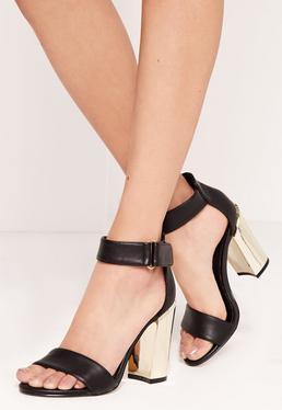 Sandales noires à talon carré doré