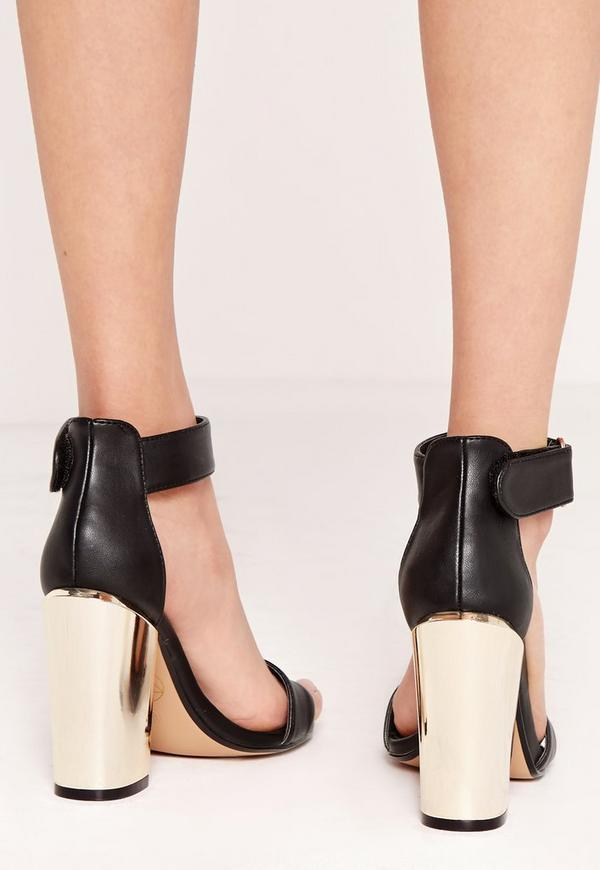 Gold Block Heel Barely There Sandals Black Missguided