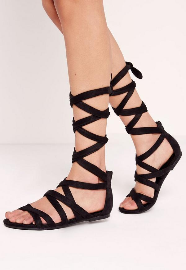 Cross Strap Wrap Around Flat Sandals Black