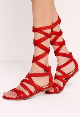 Cross Strap Wrap Around Flat Sandals Red