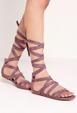Cross Strap Wrap Around Flat Sandals Pink