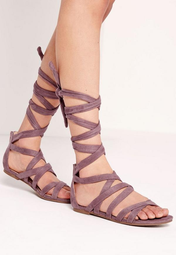 Cross Strap Wrap Around Flat Sandals Pink