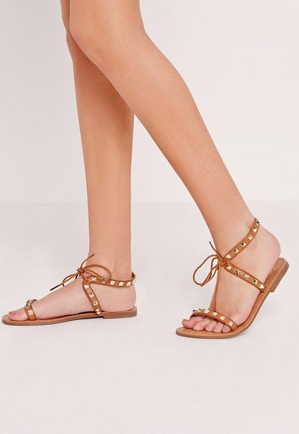 Studded Barely There Flat Sandals Tan