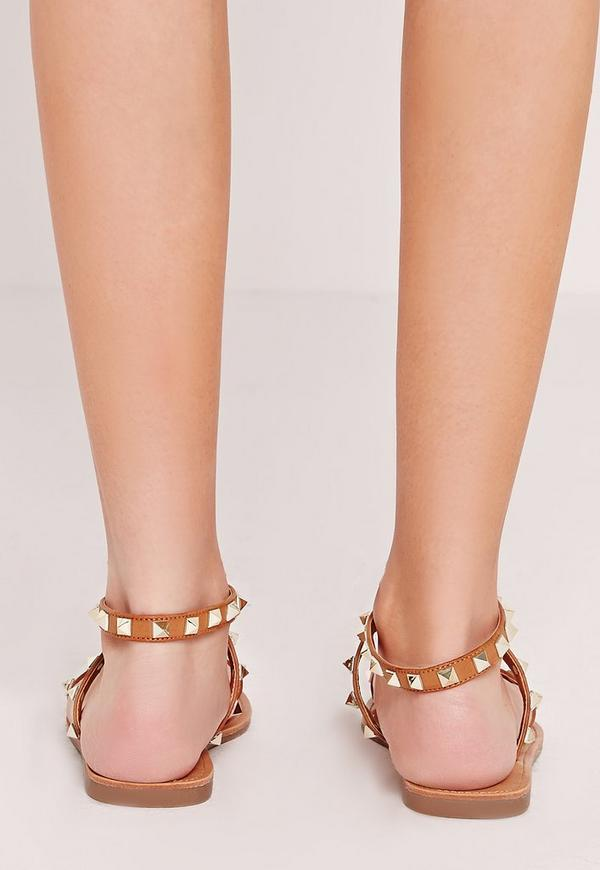Studded Barely There Flat Sandals Tan Missguided