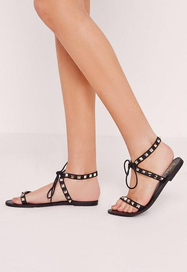Studded Barely There Flat Sandals Black