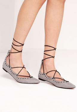 Eyelet Detail Pointed Flat Lace Up Shoe Grey