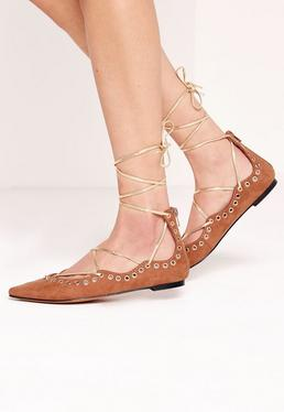 Eyelet Detail Pointed Flat Lace Up Shoe Tan