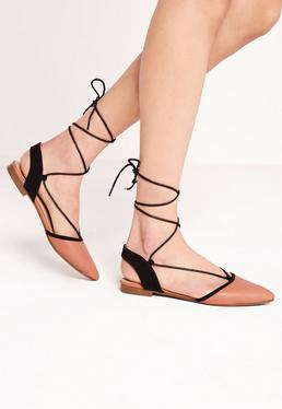 Sling Back Lace Up Flat Shoe Terracotta