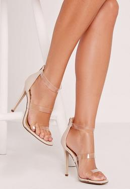 clear 3 Strap Barely There Heeled Sandals Nude