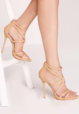 Sandales à talon nude à fines lanières