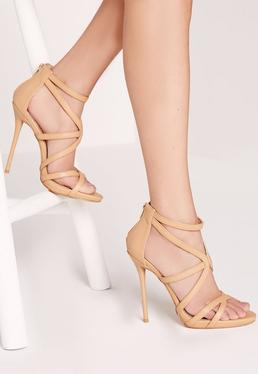 Strappy Heeled Gladiator Sandals Nude