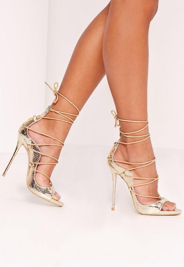 Reptile Lace Up Heeled Sandals Gold | Missguided