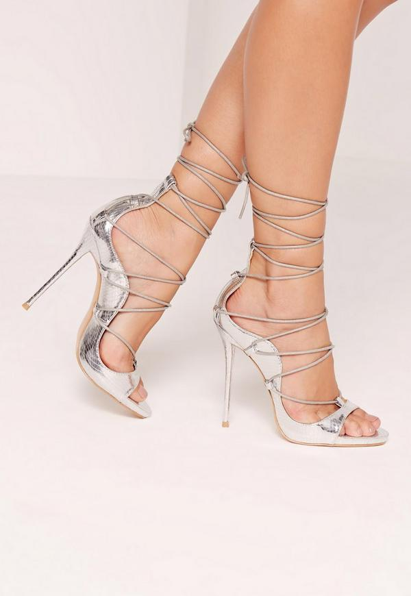 Reptile Lace Up Heeled Sandals Silver