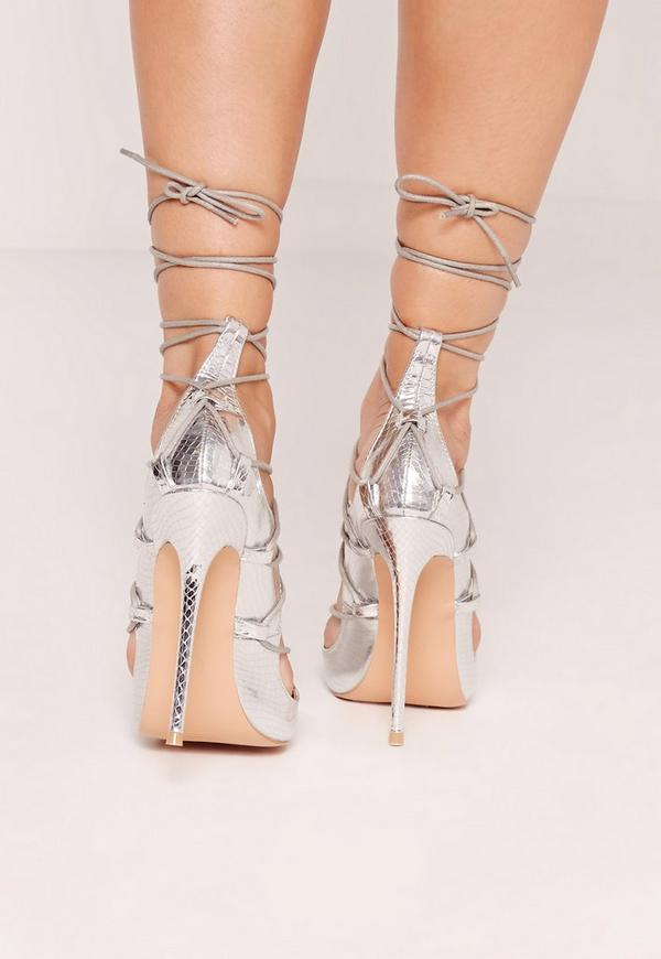 Reptile Lace Up Heeled Sandals Silver | Missguided