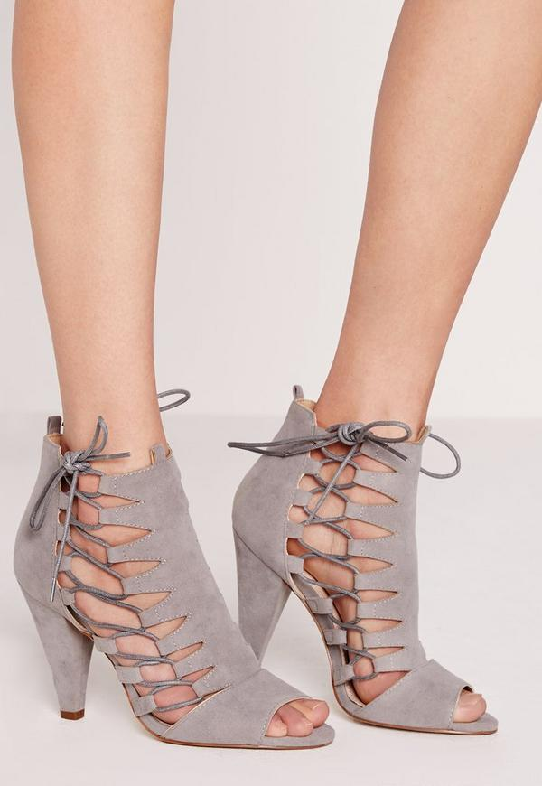Side Lace Up Cone Gladiator Heels Grey