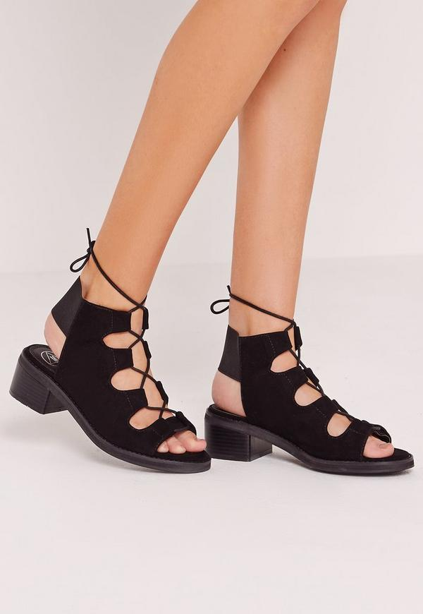 Elastic Back Block Heel Lace Up Sandal Black