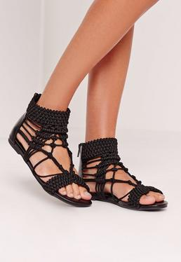 Origami Rope Flat Sandals Black