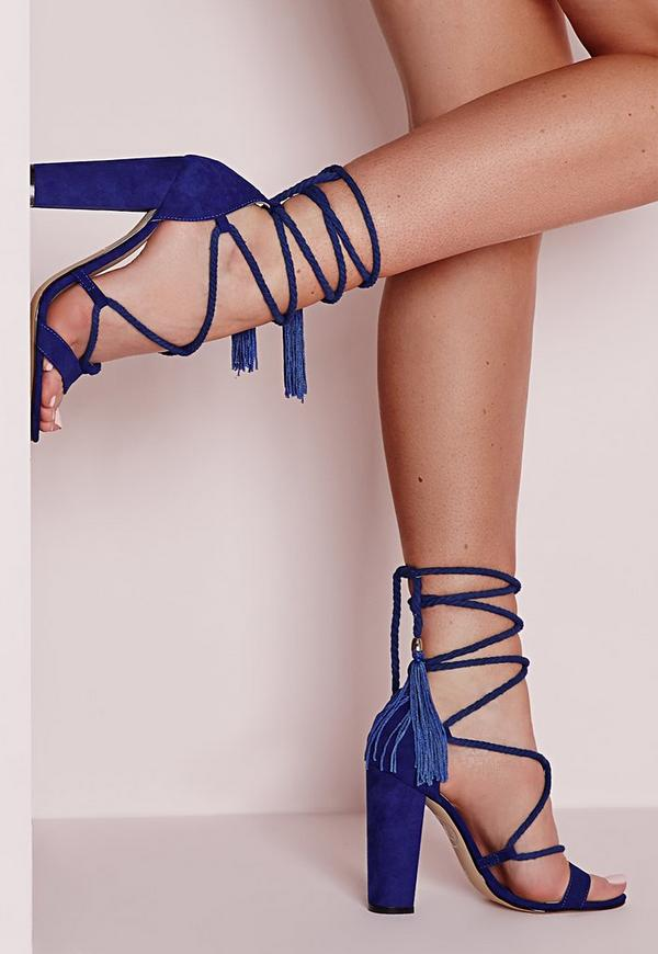 Lace Up Tassel Block Heeled Sandals Cobalt Blue