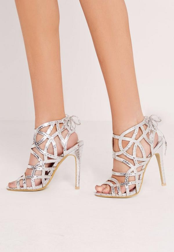Strappy Lace Back Heeled Sandal Silver