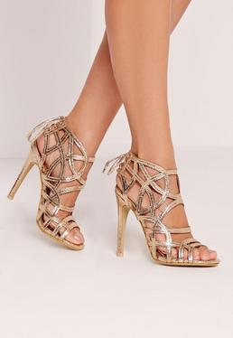 Strappy Lace Back Heeled Sandal Gold