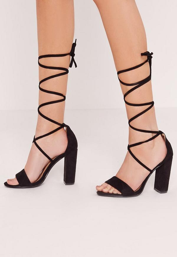 Block Heel Lace Up Barely There Black