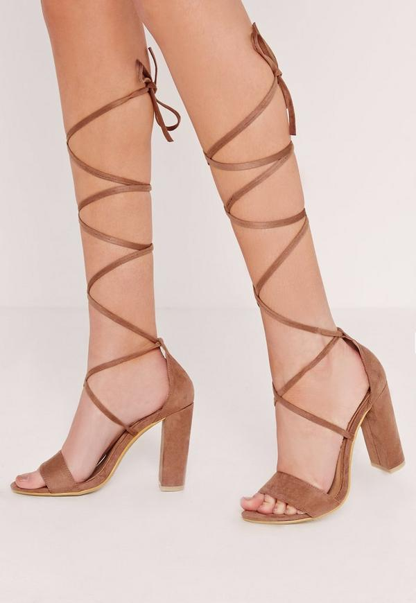 Block Heel Lace Up Barely There Tan