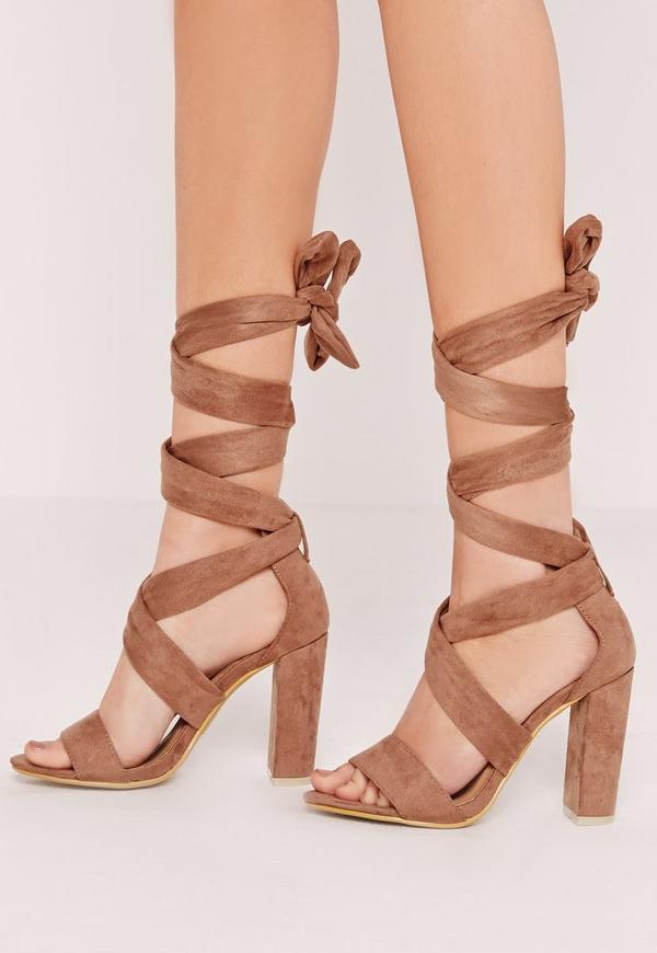 Thick Strap Block Heel Lace Up Sandal Tan