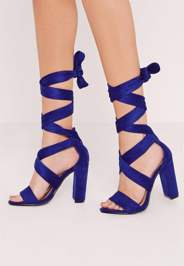 Thick Strap Block Heel Lace Up Sandal Blue