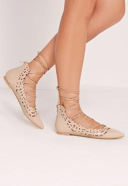 Laser Cut Lace Up Flat Shoe Nude