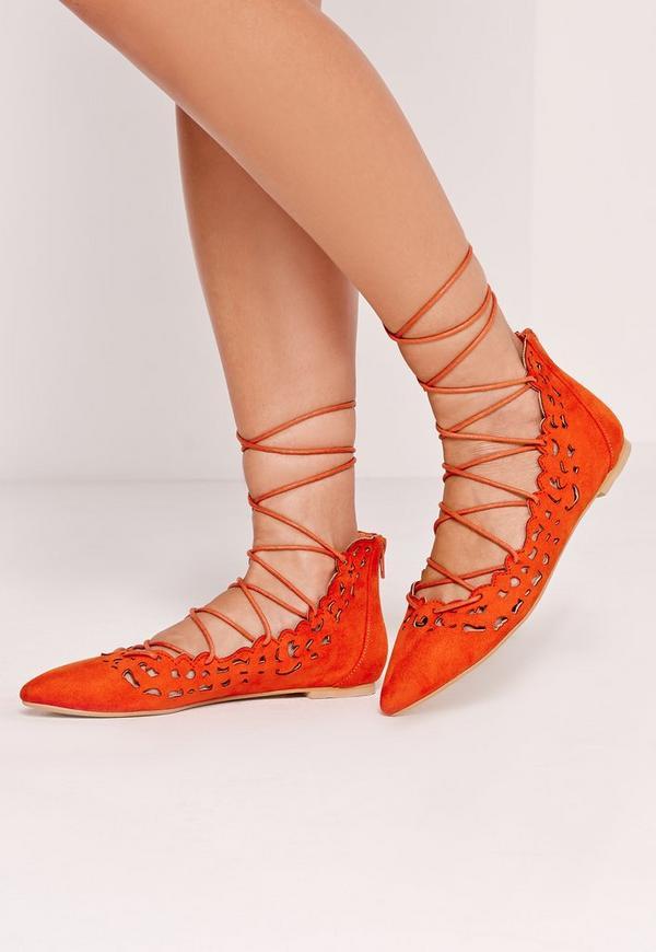 Laser Cut Lace Up Flat Shoe Red