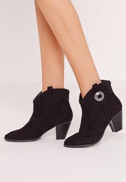 Chelsea-Ankle-Boots mit plissierter Oberseite im Westernstyle in Schwarz