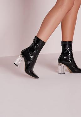 Patent Ankle Boots Perspex Heel Black