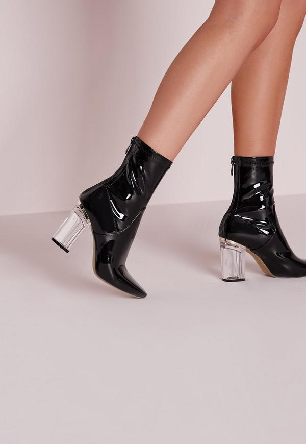 Patent Ankle Boots Perspex Heel Black Missguided