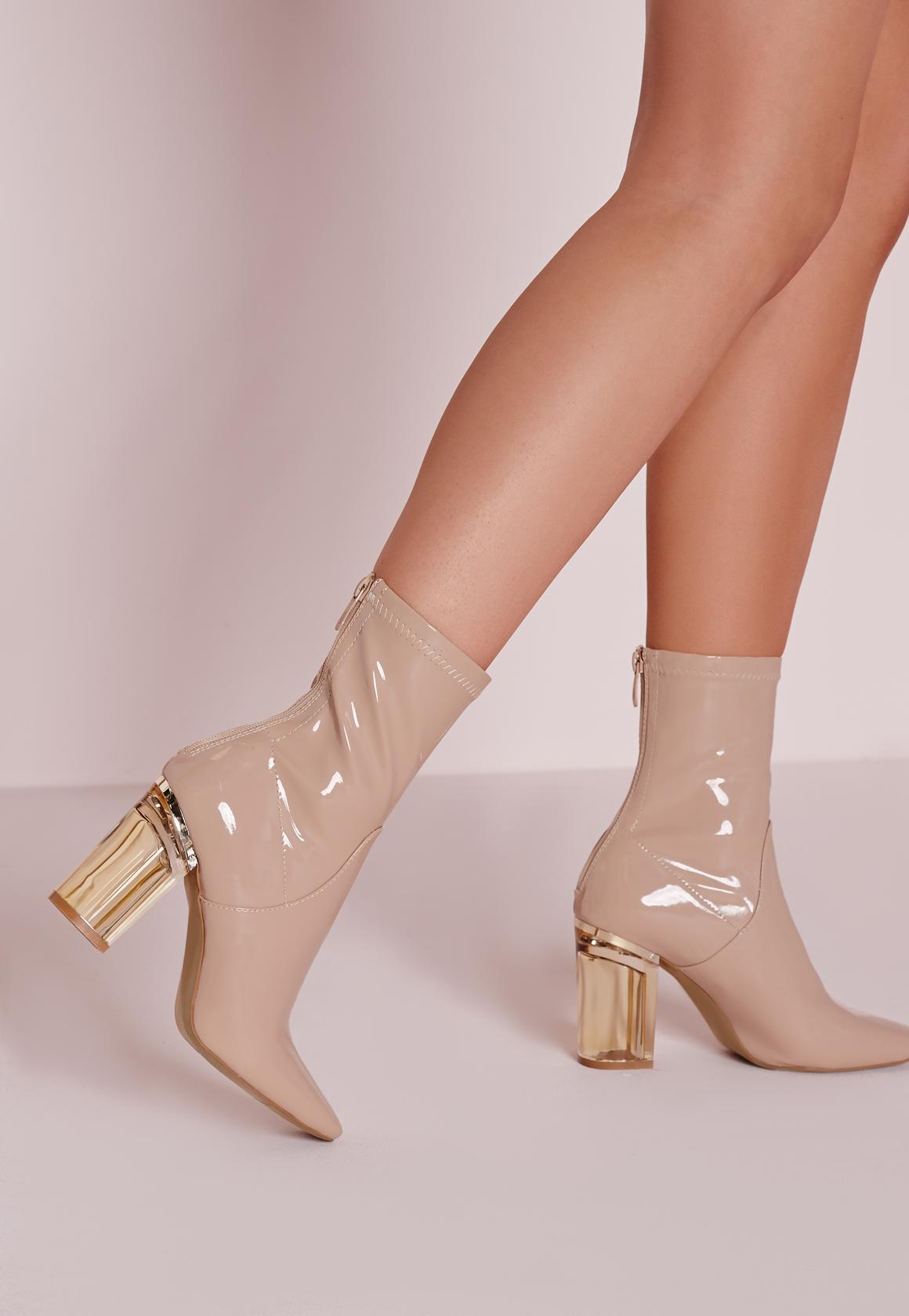 Patent Ankle Boots Perspex Heel Nude - Missguided