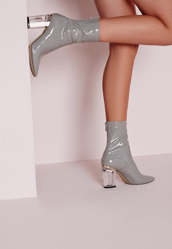 Patent Ankle Boots Perspex Heel Grey