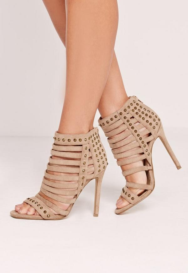 Studded Strappy Heeled Sandals Nude